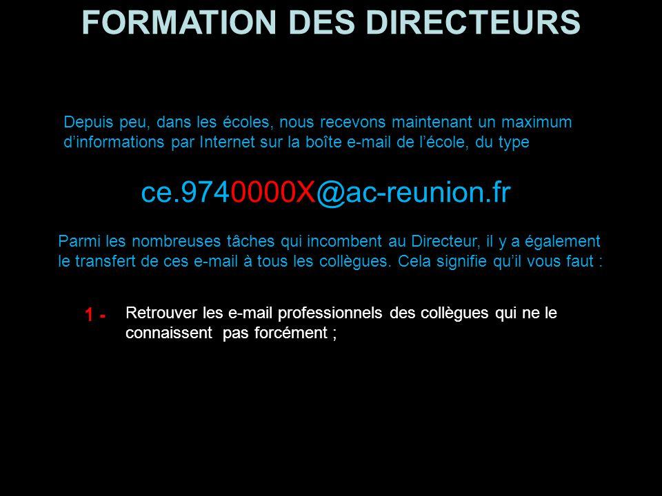 FORMATION DES DIRECTEURS Les transferts d'e-mail Dernière astuce Dernière astuce : voici comment transférer automatiquement les mails reçus sur sa boîte mail professionnelle denis.kahane@ac-reunion.fr denis.kahane@ac-reunion.fr