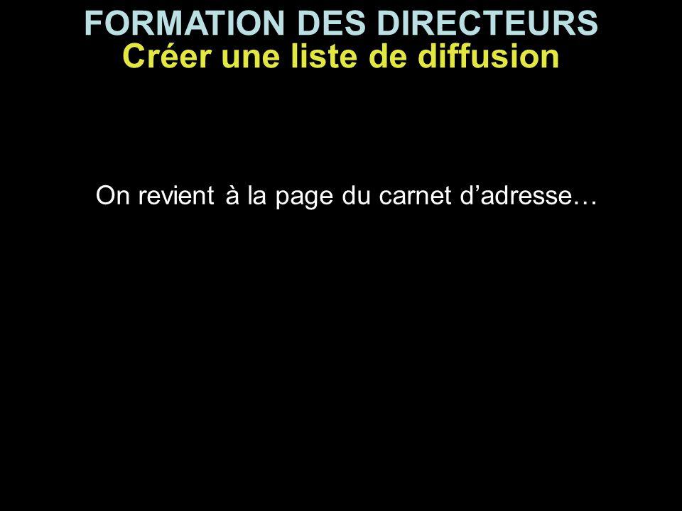 FORMATION DES DIRECTEURS On revient à la page du carnet d'adresse… Créer une liste de diffusion