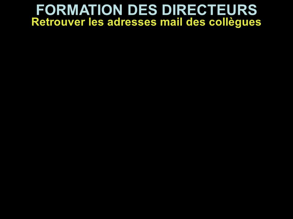 FORMATION DES DIRECTEURS Pour établir votre liste de diffusion, vous devez tout d'abord aller récupérer les adresses e-mail de tous vos collègues en vous connectant sur CellBureau à l'adresse suivante : http://cb2006.ac-reunion.fr/cb2006.dll/Default Retrouver les adresses mail des collègues