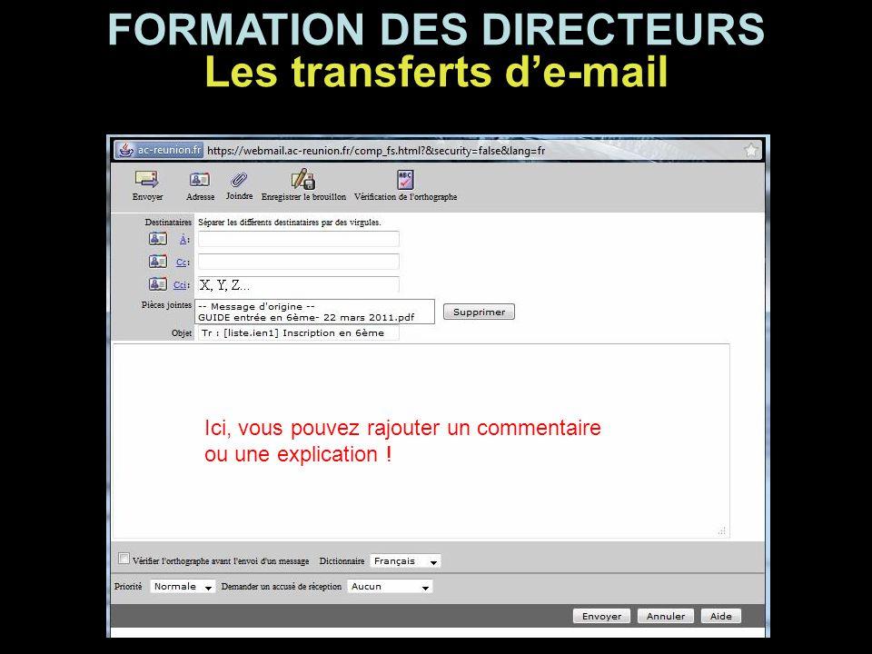 FORMATION DES DIRECTEURS Les transferts d'e-mail Ici, vous pouvez rajouter un commentaire ou une explication !