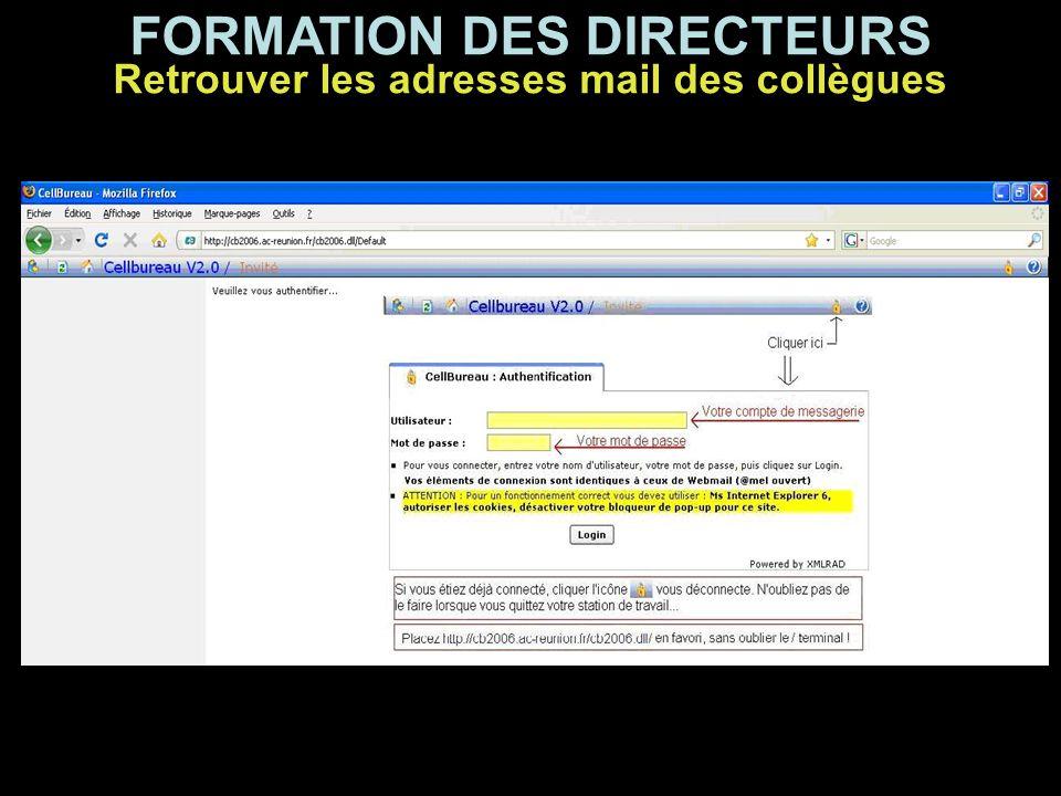 FORMATION DES DIRECTEURS Retrouver les adresses mail des collègues Et voici leurs e-mails professionnels