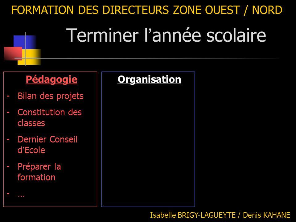 FORMATION DES DIRECTEURS ZONE OUEST / NORD Isabelle BRIGY-LAGUEYTE / Denis KAHANE Organisation Pédagogie -Bilan des projets -Constitution des classes
