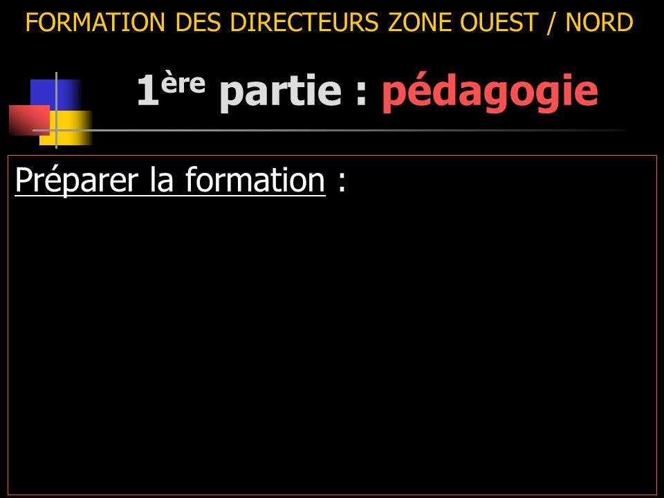 FORMATION DES DIRECTEURS ZONE OUEST / NORD Préparer la formation : 1 ère partie : pédagogie