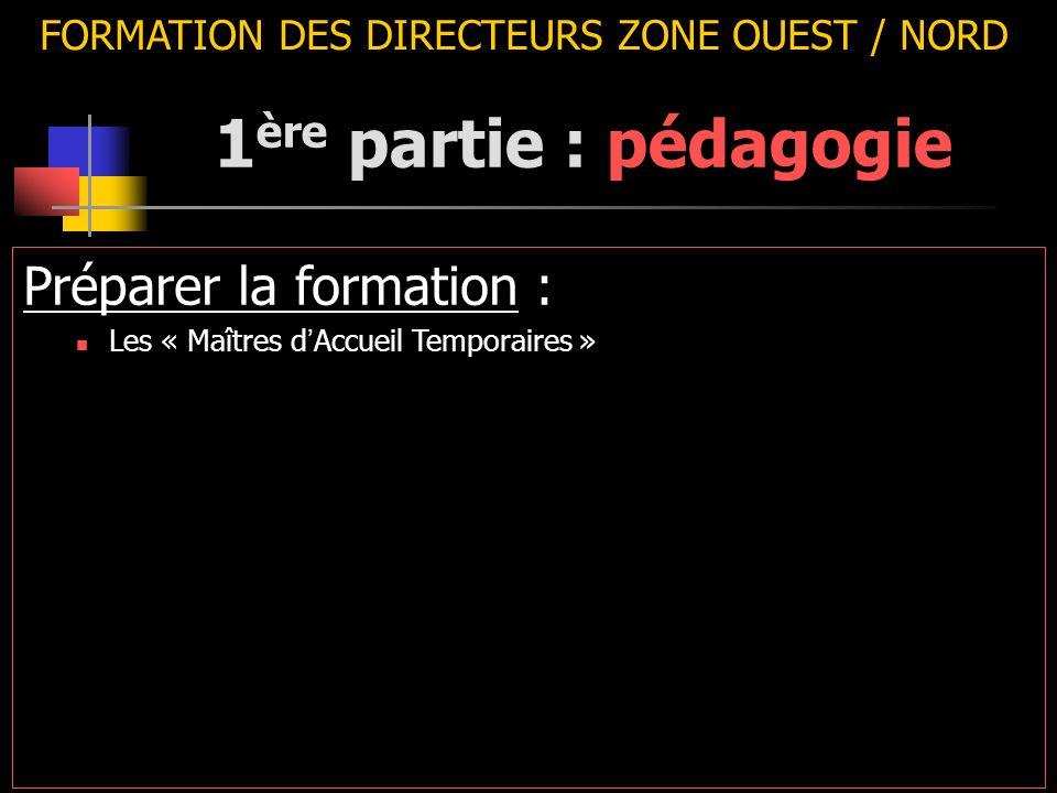 FORMATION DES DIRECTEURS ZONE OUEST / NORD Préparer la formation : Les « Maîtres d ' Accueil Temporaires » 1 ère partie : pédagogie