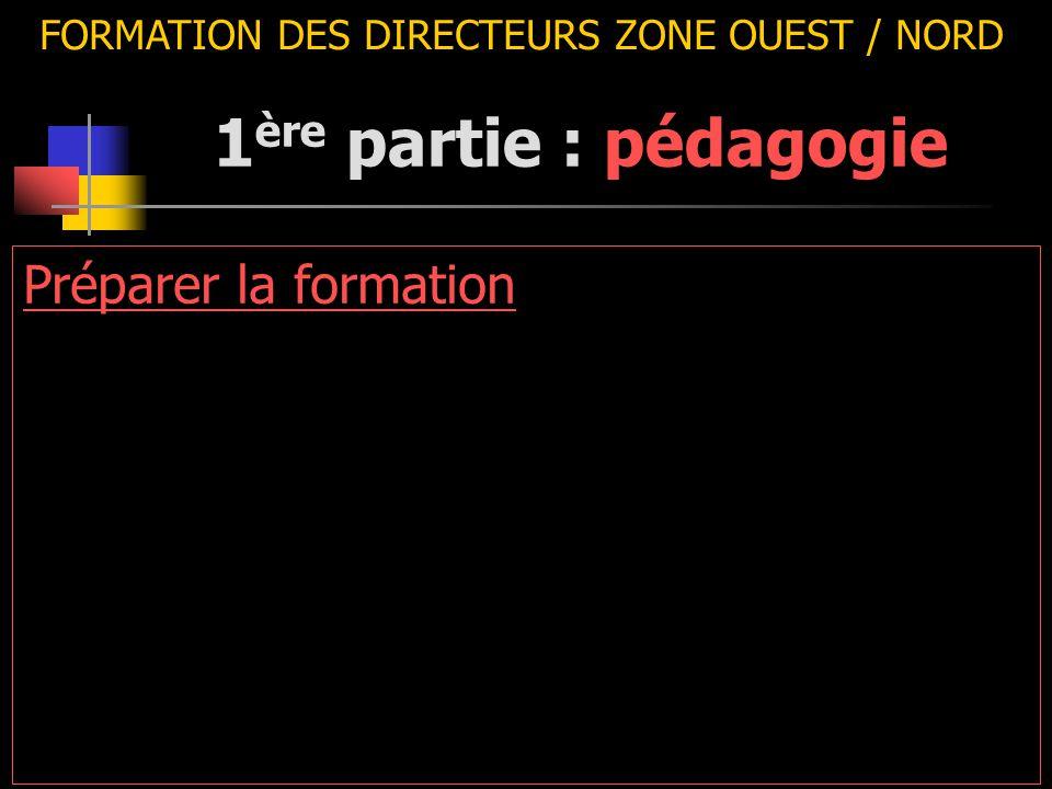FORMATION DES DIRECTEURS ZONE OUEST / NORD Préparer la formation 1 ère partie : pédagogie