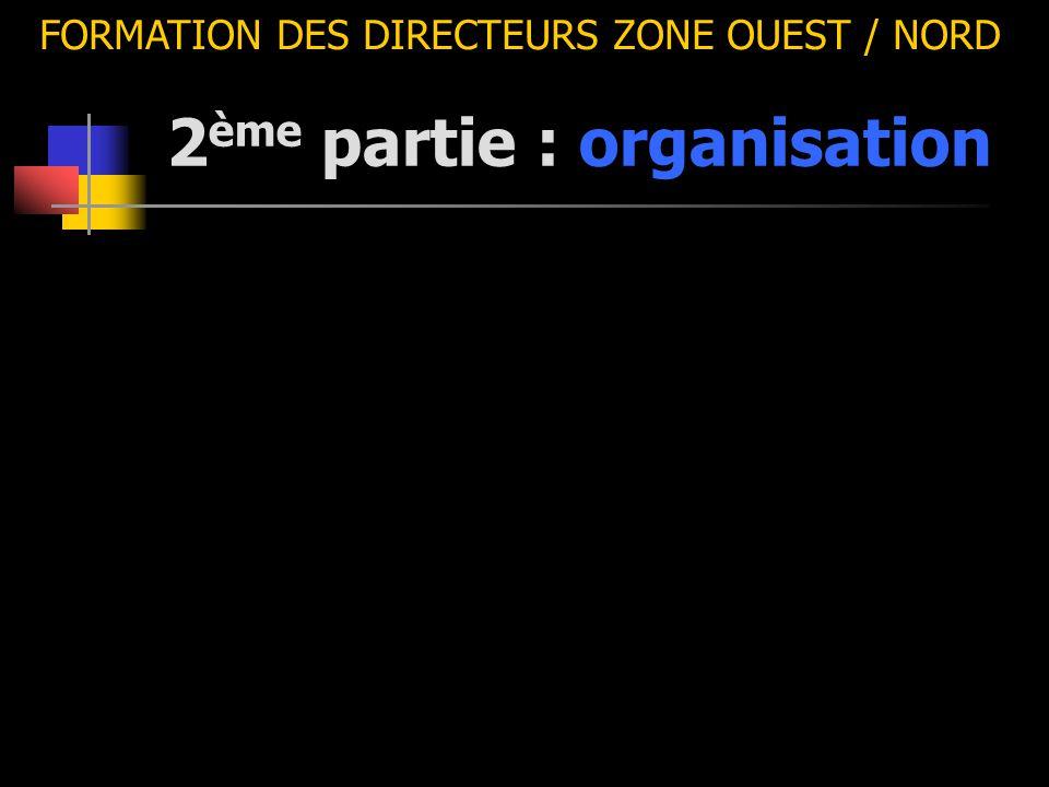 2 ème partie : organisation FORMATION DES DIRECTEURS ZONE OUEST / NORD