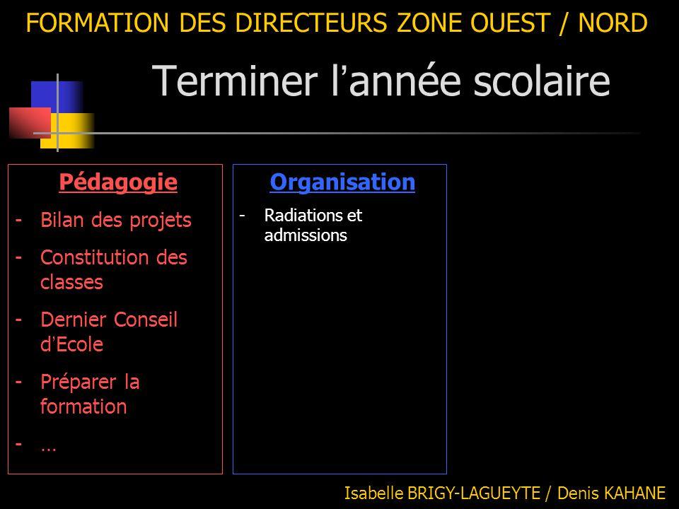 FORMATION DES DIRECTEURS ZONE OUEST / NORD Isabelle BRIGY-LAGUEYTE / Denis KAHANE Organisation -Radiations et admissions Pédagogie -Bilan des projets
