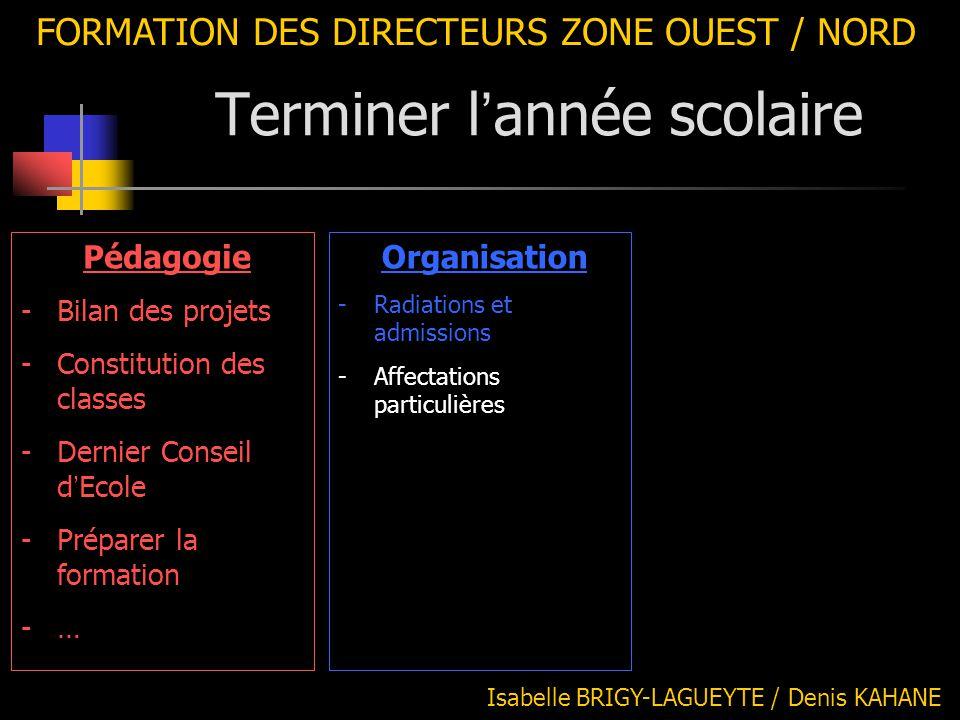 FORMATION DES DIRECTEURS ZONE OUEST / NORD Isabelle BRIGY-LAGUEYTE / Denis KAHANE Organisation -Radiations et admissions -Affectations particulières P