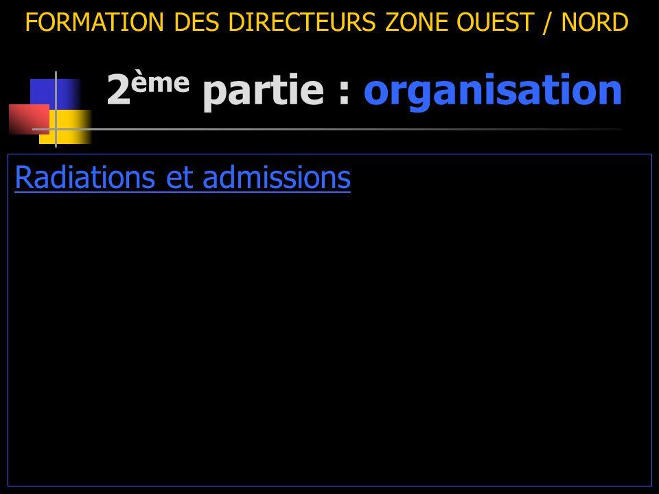 2 ème partie : organisation FORMATION DES DIRECTEURS ZONE OUEST / NORD Radiations et admissions