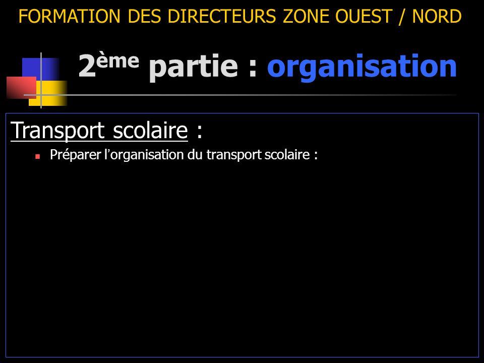 2 ème partie : organisation FORMATION DES DIRECTEURS ZONE OUEST / NORD Transport scolaire : Préparer l ' organisation du transport scolaire :