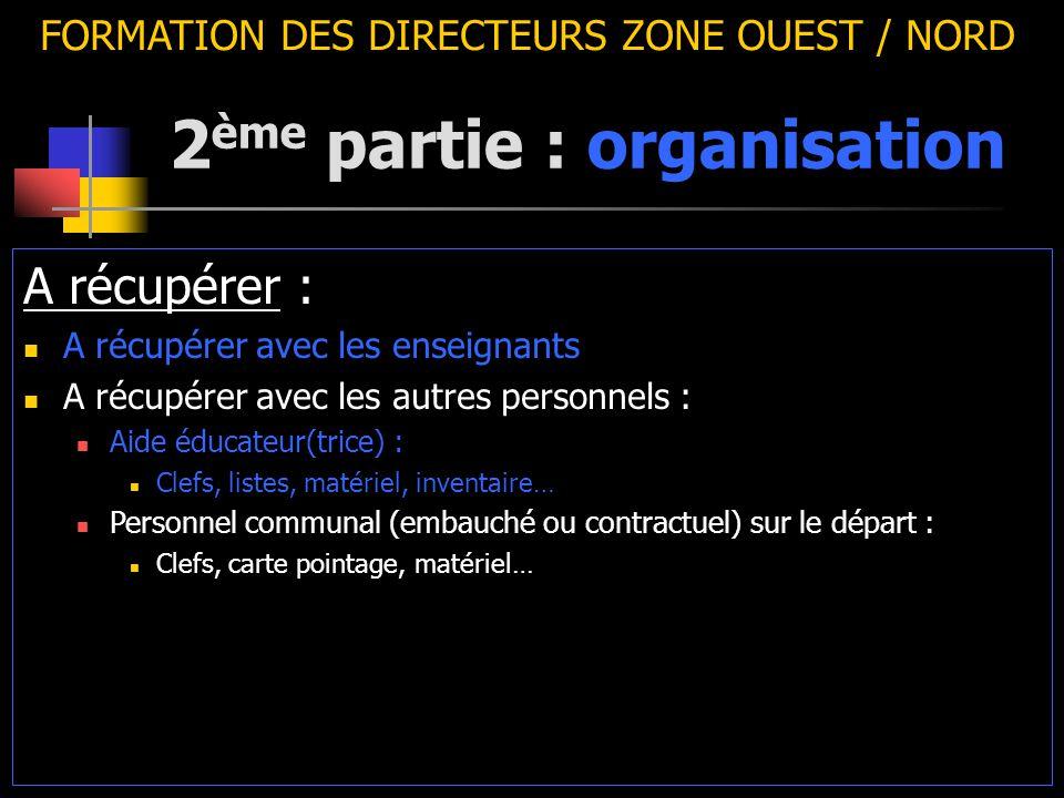 2 ème partie : organisation FORMATION DES DIRECTEURS ZONE OUEST / NORD A récupérer : A récupérer avec les enseignants A récupérer avec les autres pers