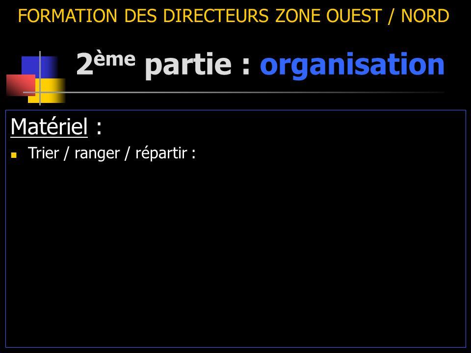 2 ème partie : organisation FORMATION DES DIRECTEURS ZONE OUEST / NORD Matériel : Trier / ranger / répartir :