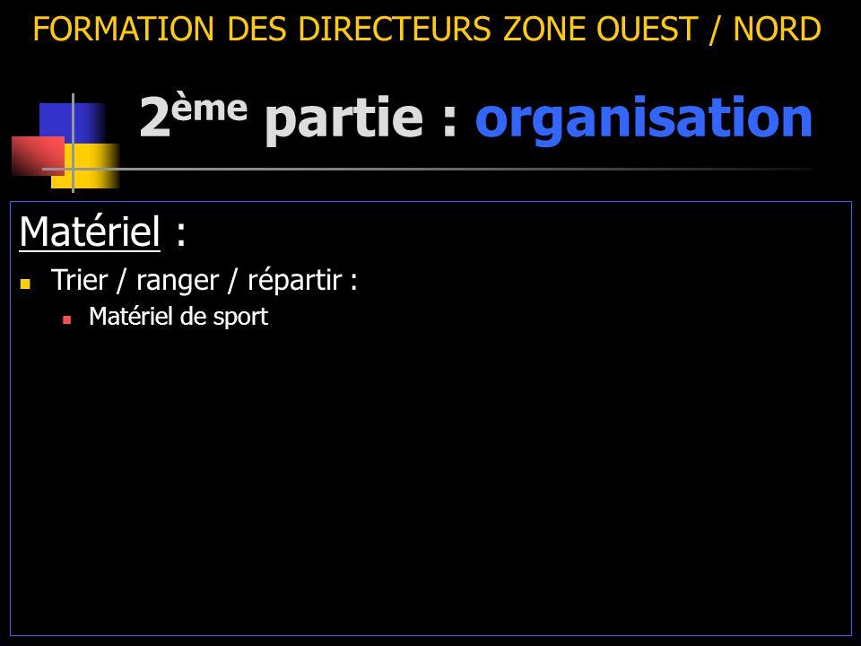 2 ème partie : organisation FORMATION DES DIRECTEURS ZONE OUEST / NORD Matériel : Trier / ranger / répartir : Matériel de sport