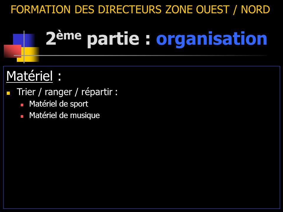 2 ème partie : organisation FORMATION DES DIRECTEURS ZONE OUEST / NORD Matériel : Trier / ranger / répartir : Matériel de sport Matériel de musique