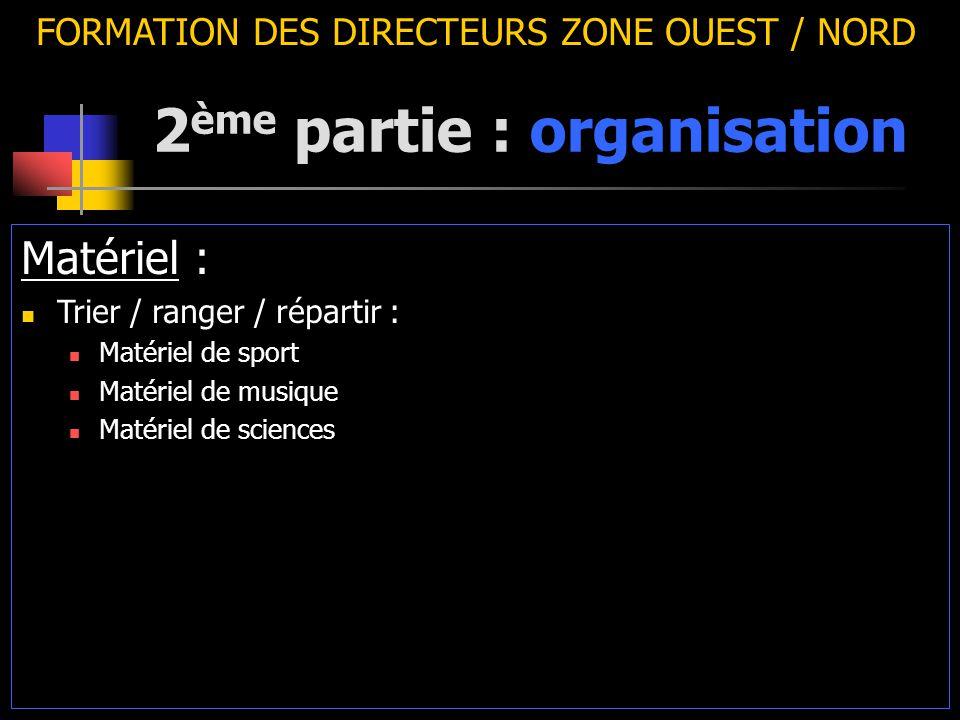 2 ème partie : organisation FORMATION DES DIRECTEURS ZONE OUEST / NORD Matériel : Trier / ranger / répartir : Matériel de sport Matériel de musique Matériel de sciences