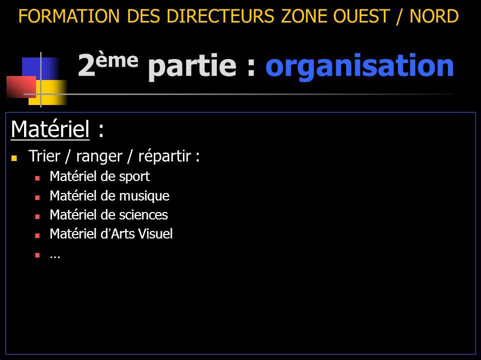 2 ème partie : organisation FORMATION DES DIRECTEURS ZONE OUEST / NORD Matériel : Trier / ranger / répartir : Matériel de sport Matériel de musique Ma