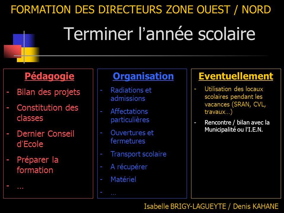 FORMATION DES DIRECTEURS ZONE OUEST / NORD Isabelle BRIGY-LAGUEYTE / Denis KAHANE Organisation -Radiations et admissions -Affectations particulières -