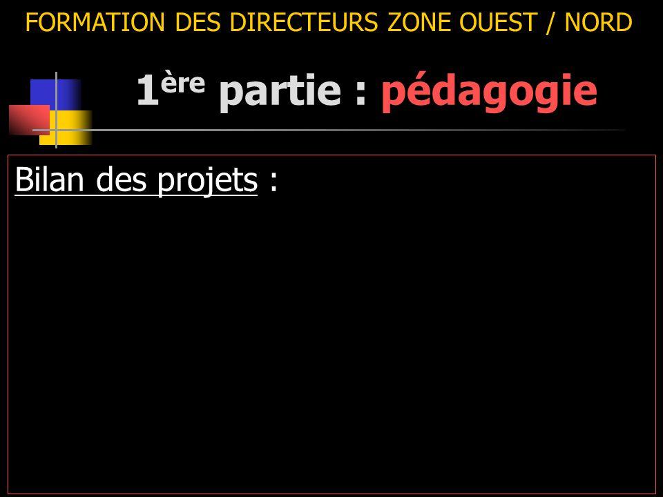 FORMATION DES DIRECTEURS ZONE OUEST / NORD Bilan des projets : 1 ère partie : pédagogie