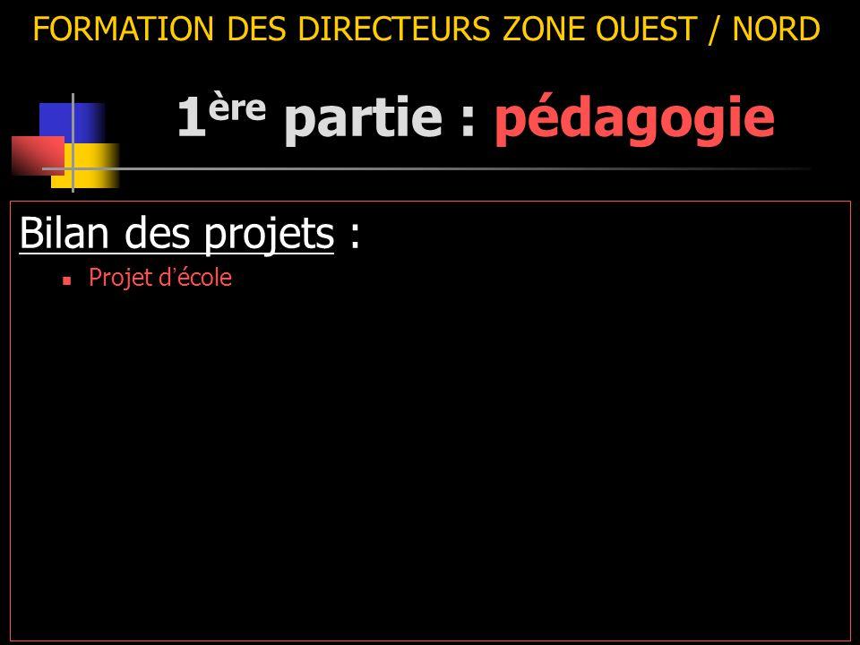 FORMATION DES DIRECTEURS ZONE OUEST / NORD Bilan des projets : Projet d ' école 1 ère partie : pédagogie