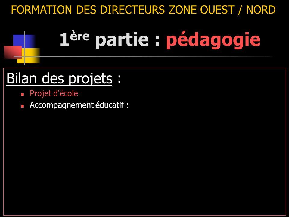 FORMATION DES DIRECTEURS ZONE OUEST / NORD Bilan des projets : Projet d ' école Accompagnement éducatif : 1 ère partie : pédagogie