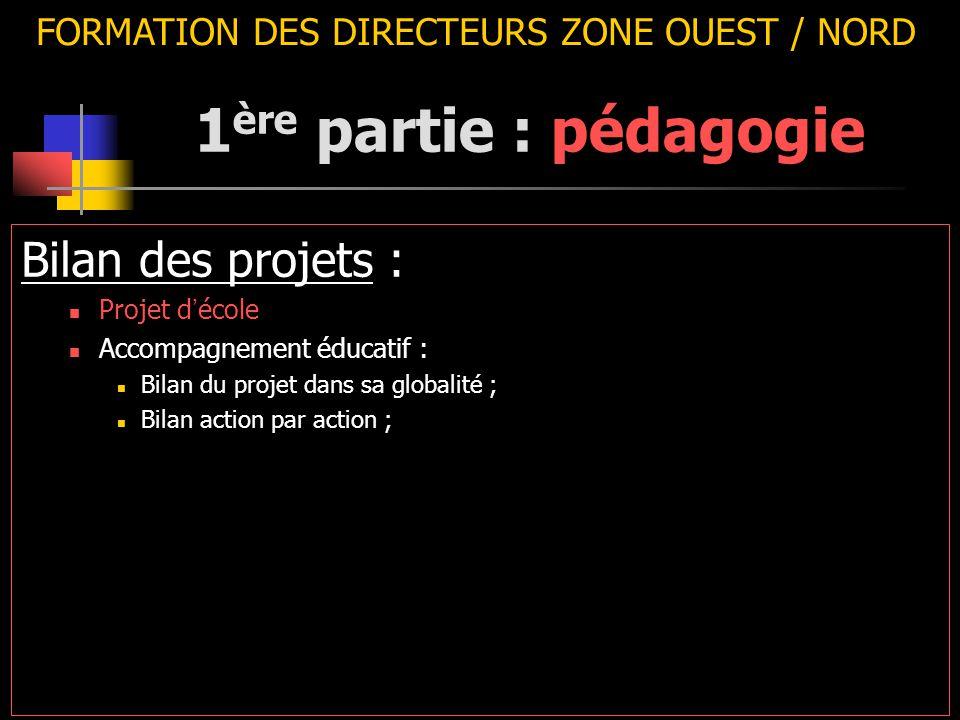 FORMATION DES DIRECTEURS ZONE OUEST / NORD Bilan des projets : Projet d ' école Accompagnement éducatif : Bilan du projet dans sa globalité ; Bilan action par action ; 1 ère partie : pédagogie