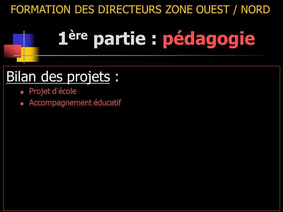 FORMATION DES DIRECTEURS ZONE OUEST / NORD Bilan des projets : Projet d ' école Accompagnement éducatif 1 ère partie : pédagogie