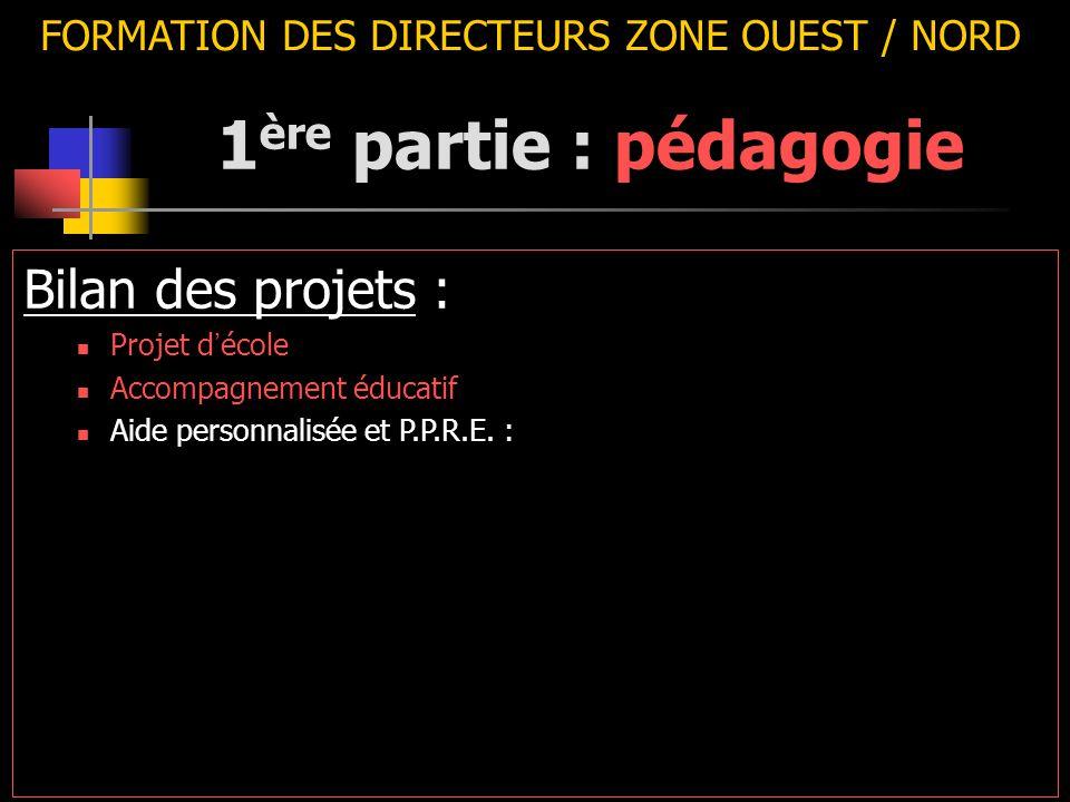 FORMATION DES DIRECTEURS ZONE OUEST / NORD Bilan des projets : Projet d ' école Accompagnement éducatif Aide personnalisée et P.P.R.E. : 1 ère partie