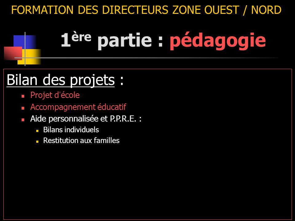 FORMATION DES DIRECTEURS ZONE OUEST / NORD Bilan des projets : Projet d ' école Accompagnement éducatif Aide personnalisée et P.P.R.E. : Bilans indivi