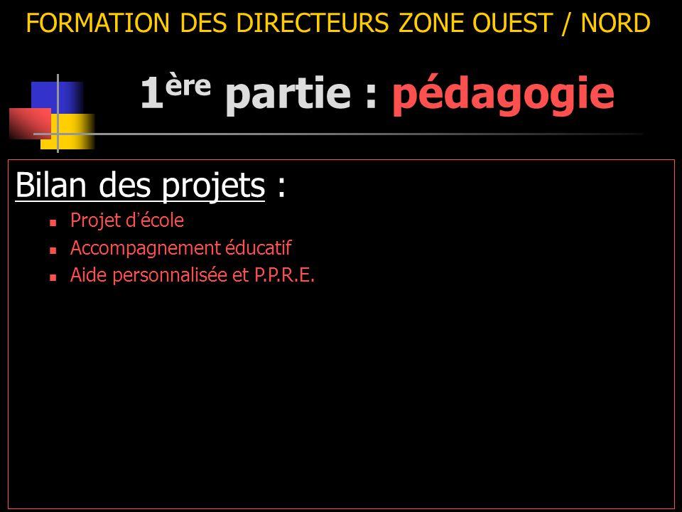 FORMATION DES DIRECTEURS ZONE OUEST / NORD Bilan des projets : Projet d ' école Accompagnement éducatif Aide personnalisée et P.P.R.E. 1 ère partie :