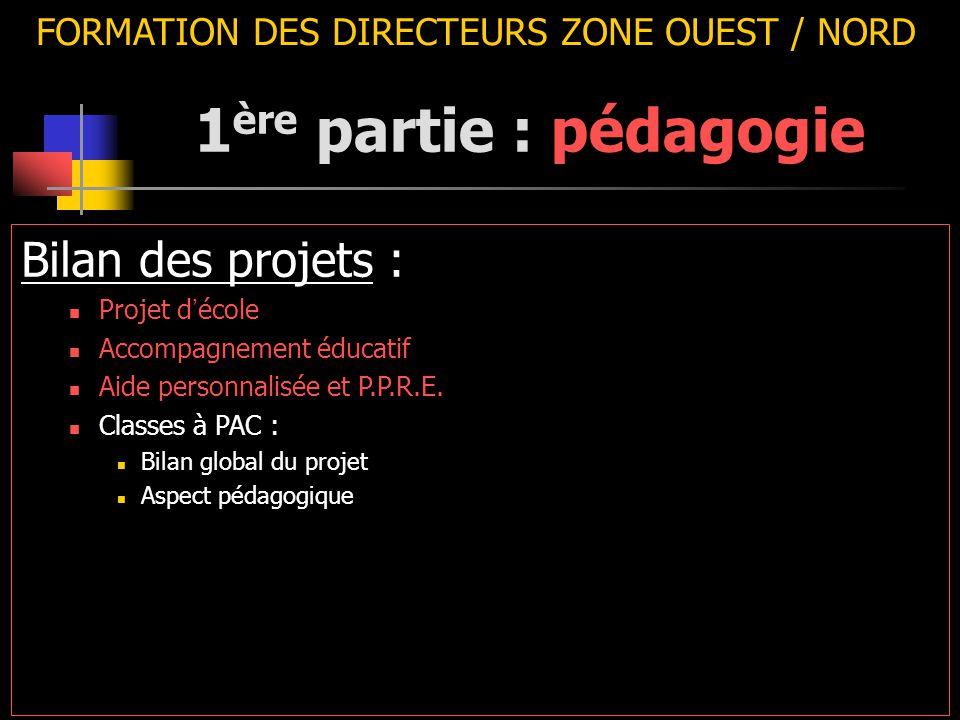 FORMATION DES DIRECTEURS ZONE OUEST / NORD Bilan des projets : Projet d ' école Accompagnement éducatif Aide personnalisée et P.P.R.E. Classes à PAC :