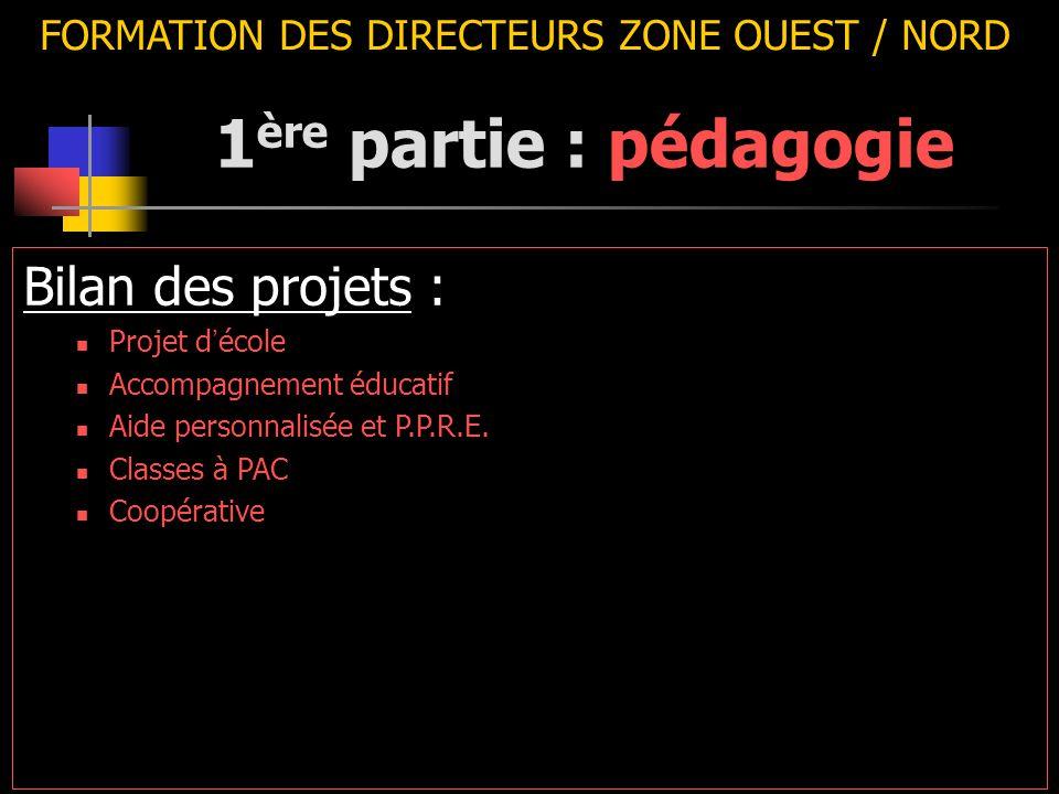 FORMATION DES DIRECTEURS ZONE OUEST / NORD Bilan des projets : Projet d ' école Accompagnement éducatif Aide personnalisée et P.P.R.E. Classes à PAC C