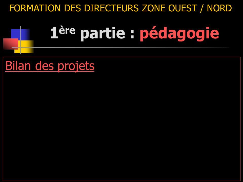 FORMATION DES DIRECTEURS ZONE OUEST / NORD Bilan des projets 1 ère partie : pédagogie