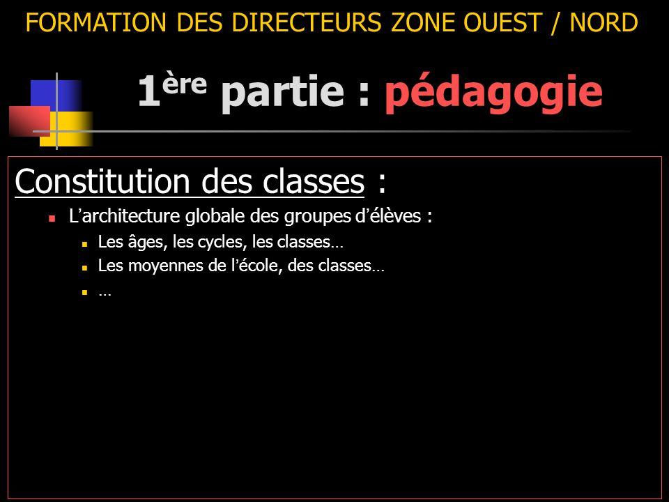 FORMATION DES DIRECTEURS ZONE OUEST / NORD Constitution des classes : L ' architecture globale des groupes d ' élèves : Les âges, les cycles, les classes… Les moyennes de l ' école, des classes… … 1 ère partie : pédagogie