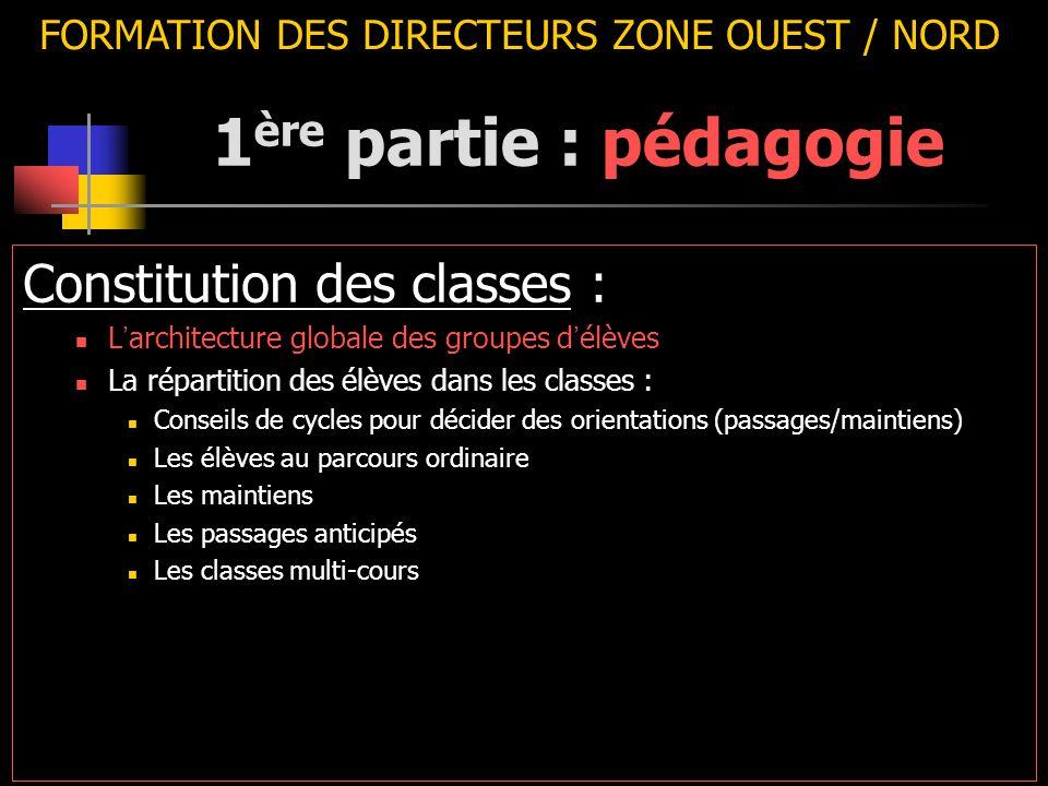 FORMATION DES DIRECTEURS ZONE OUEST / NORD Constitution des classes : L ' architecture globale des groupes d ' élèves La répartition des élèves dans l