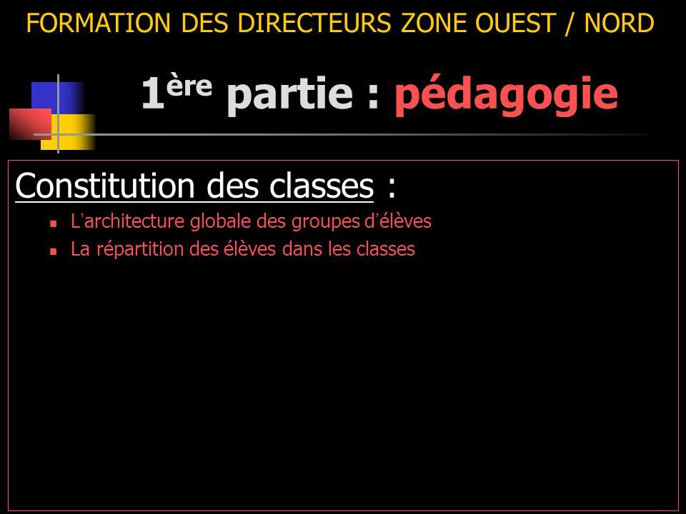 FORMATION DES DIRECTEURS ZONE OUEST / NORD Constitution des classes : L ' architecture globale des groupes d ' élèves La répartition des élèves dans les classes 1 ère partie : pédagogie