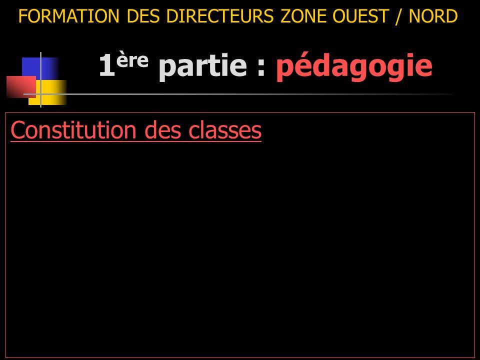 FORMATION DES DIRECTEURS ZONE OUEST / NORD Constitution des classes 1 ère partie : pédagogie