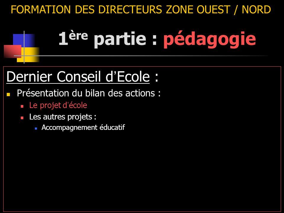 FORMATION DES DIRECTEURS ZONE OUEST / NORD Dernier Conseil d ' Ecole : Présentation du bilan des actions : Le projet d ' école Les autres projets : Ac