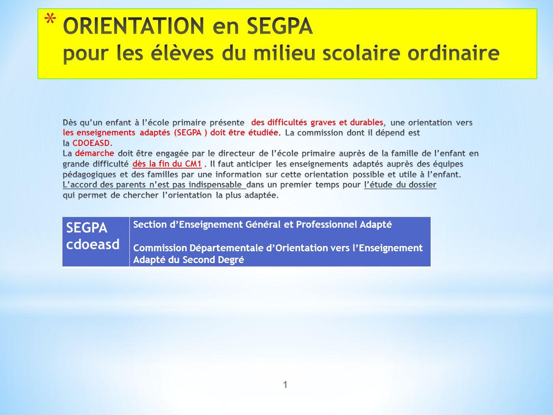 1 SEGPA cdoeasd Section d'Enseignement Général et Professionnel Adapté Commission Départementale d'Orientation vers l'Enseignement Adapté du Second De