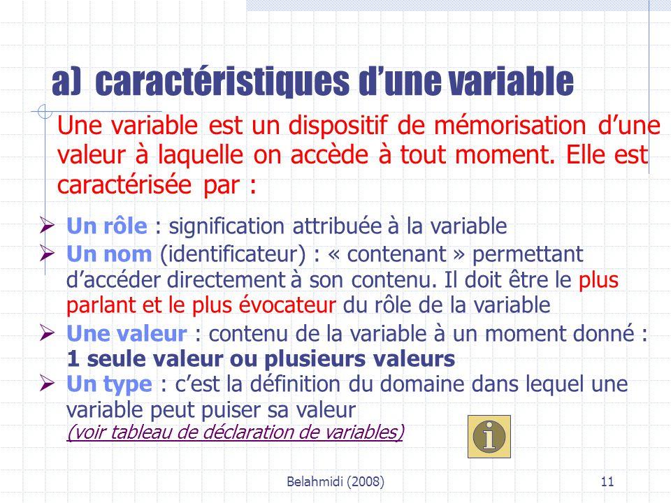 Belahmidi (2008)11 a) caractéristiques d'une variable Une variable est un dispositif de mémorisation d'une valeur à laquelle on accède à tout moment.