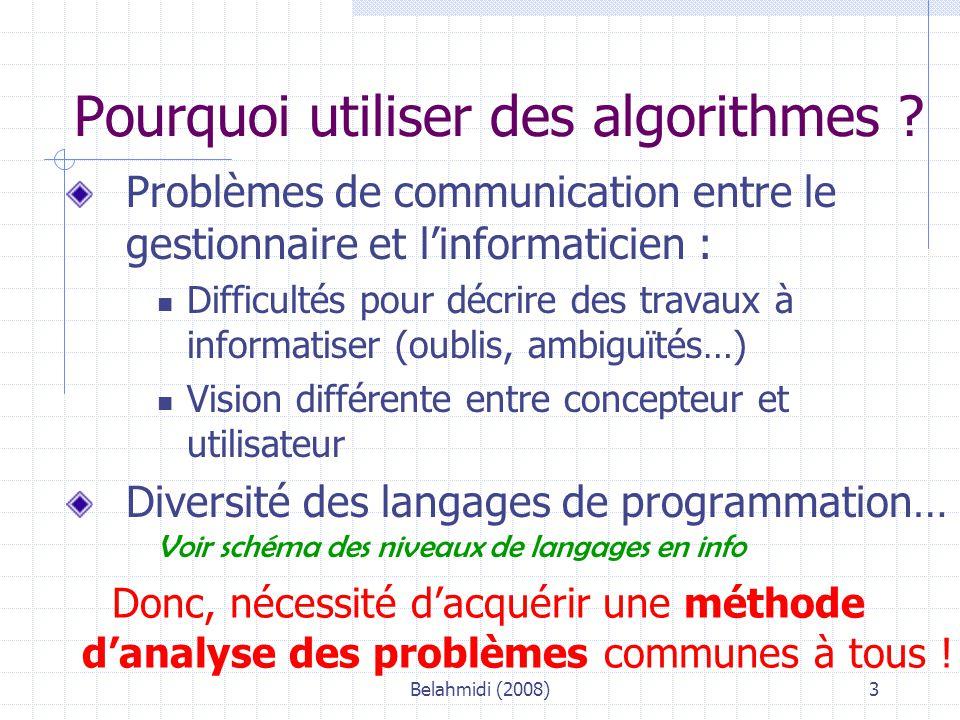 Belahmidi (2008)24 La structure «POUR… FIN POUR» Algo : FactBout (d'après sujet Bac IG Désaltère) Variables : … TOTALTTC : réel NBREF : entier i : entier Début * Initialisation de la variable TOTAL TOTALTTC 0 SAISIR « nombre de références différentes des bouteilles achetées : », NBREF * répétition du calcul du montant dû pour POUR i = 1 à NBREF * Entrée des autres données élémentaires Ref, Pu, Nb * * Calcul du montant de la remiseCalcul du montant de la remise * * Calcul du montant net HT * * Calcul du montant net TTC TOTALTTC TOTALTTC + NETTTC FIN POUR AFFICHER «montant total TTC facturé et dû par le client », TOTALTTC Fin