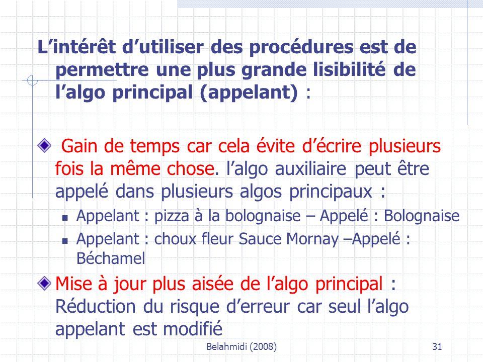 Belahmidi (2008)31 L'intérêt d'utiliser des procédures est de permettre une plus grande lisibilité de l'algo principal (appelant) : Gain de temps car cela évite d'écrire plusieurs fois la même chose.