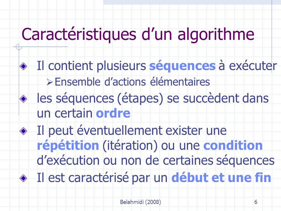 Belahmidi (2008)7 Exemple d'algo – niveau 1 Algo : FactBout (d'après sujet Bac IG Désaltère) Constantes: TXTVA : 0,196 Variables Ref, Nb : Entier Pu, BrutHT, : Réel Début * Entrée des données élémentaires SAISIR « référence de la bouteille .
