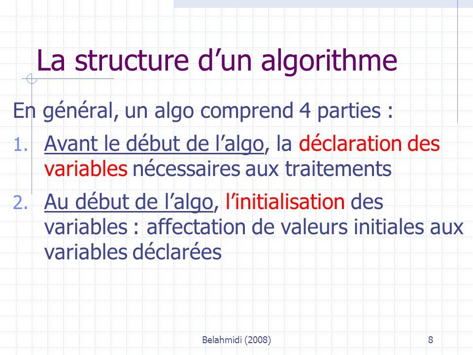 Belahmidi (2008)19 Exemple d'algo – niveau 2 Algo : FactBout (d'après sujet Bac IG Désaltère) Constantes: TXTVA : 0,196 Variables Ref, Nb : Entier Pu, BrutHT, Rem, NetHT, netTTC : Réel Début * Entrée des données élémentaire SAISIR « référence de la bouteille .