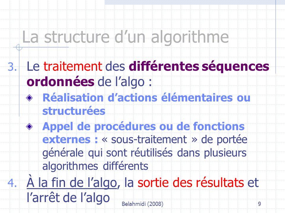 Belahmidi (2008)10 Les objets utilisés dans l'algo Un algo utilise des objets qui peuvent être des variables, des constantes, des littéraux.