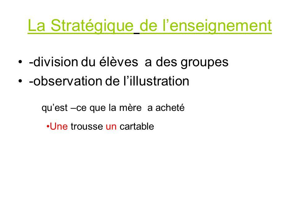 La Stratégique de l'enseignement -division du élèves a des groupes -observation de l'illustration qu'est –ce que la mère a acheté Une trousse un cartable