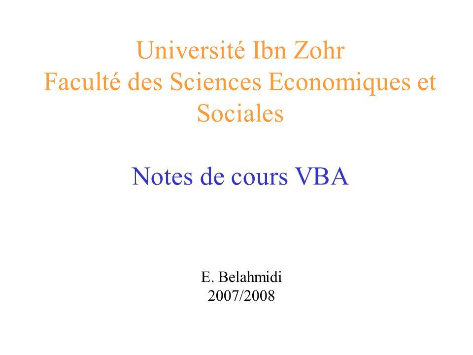 Université Ibn Zohr Faculté des Sciences Economiques et Sociales Notes de cours VBA E. Belahmidi 2007/2008