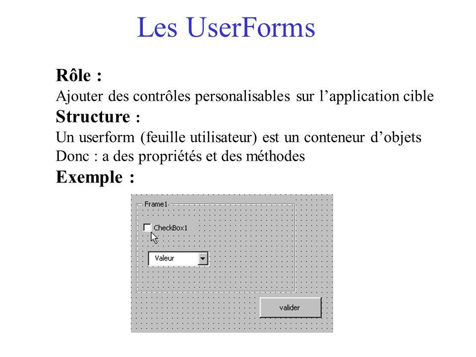 Les UserForms Rôle : Ajouter des contrôles personalisables sur l'application cible Structure : Un userform (feuille utilisateur) est un conteneur d'ob