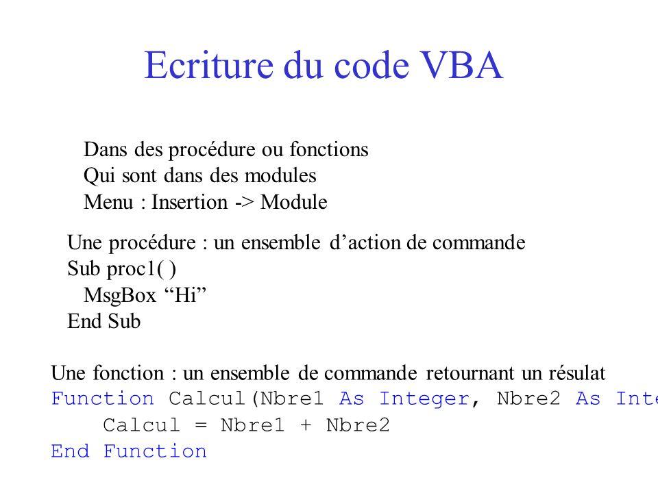 Objets Exp: Application.Workbooks(1).Worksheets( Feuil 2 ).Range( A1 ) Définition : les entités manipulées par VBA Actions sur les objets : Propriétés : C'est un attribut de l'objet Syntaxe :Objet.propriété Exp.