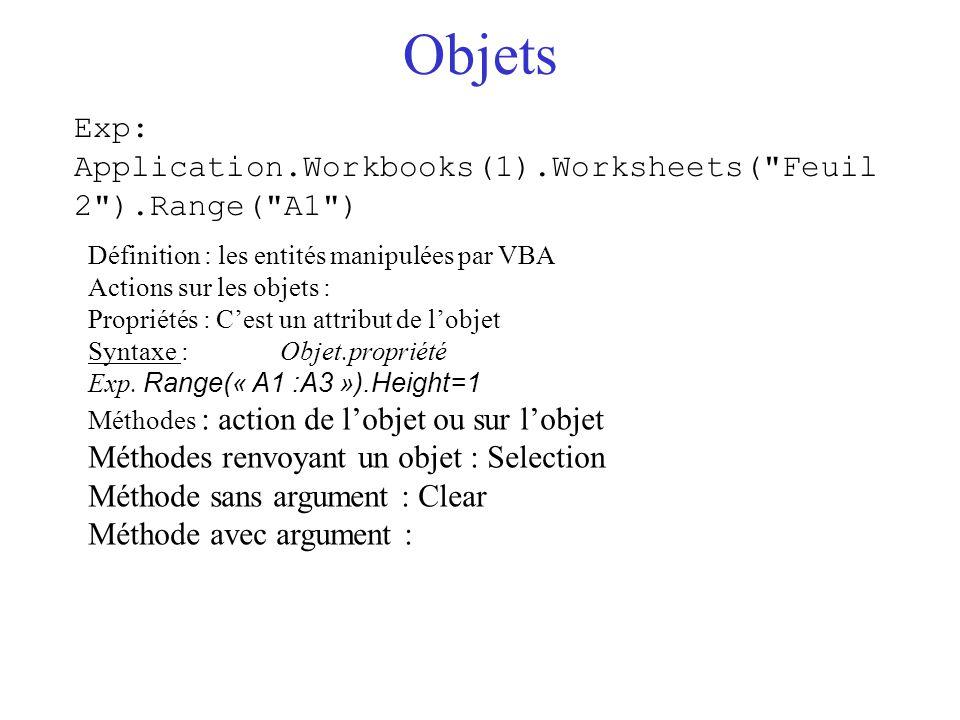 Variables Définition : un conteneur pour stocker des valeurs ou des objet -Chaque variable a un type : c'est le type des valeurs qu'elle contient -Types :  Integer : entiers, de –32 768 à 32 767  Long : entiers va de –2 147 483 648 à 2 147 483 647  Single : réels de –3,4.10 308 à –1,4.10 -45  Double : décimaux encore plus grands  String : chaînes de caractères  Object : ce sont les objets Variant : universel, contient les autres