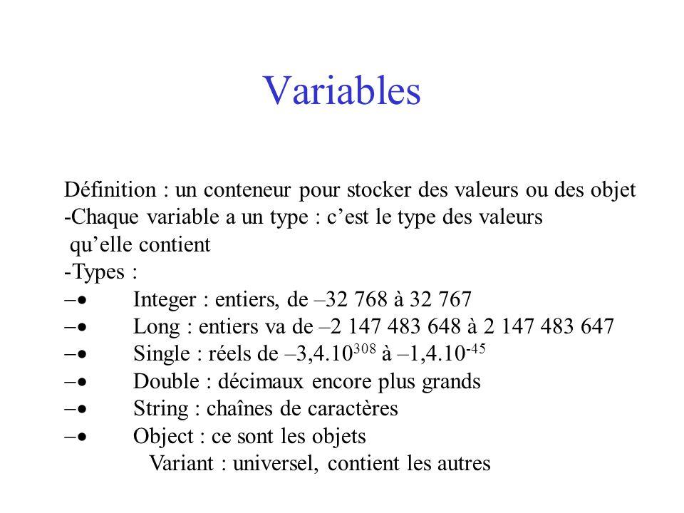 Variables Définition : un conteneur pour stocker des valeurs ou des objet -Chaque variable a un type : c'est le type des valeurs qu'elle contient -Typ